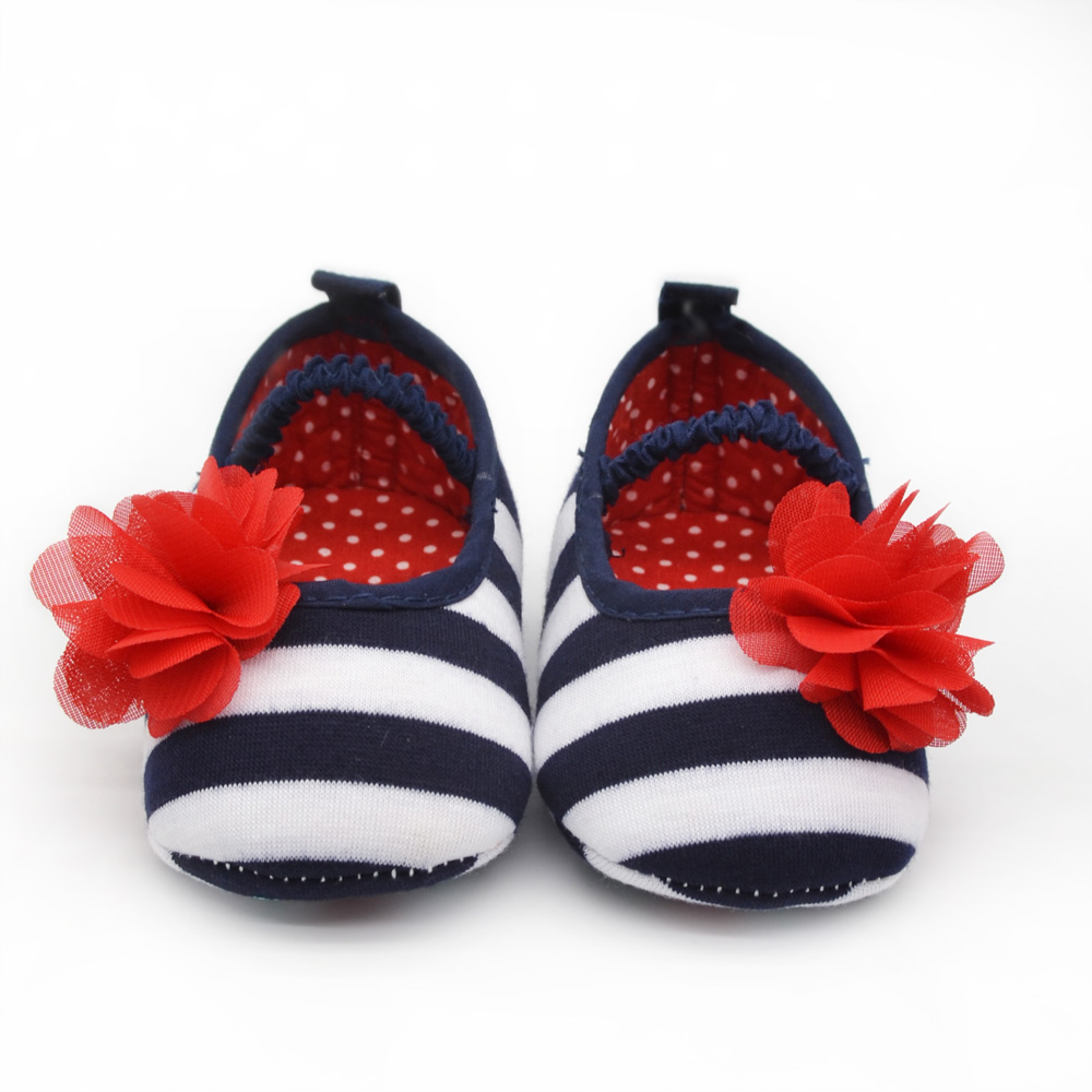 Cute Baby Soft Prewalker Shoes Striped Silk Flower Crib Toddler Baby Girl Shoes Newborn 0-12 Months Baby Shoes