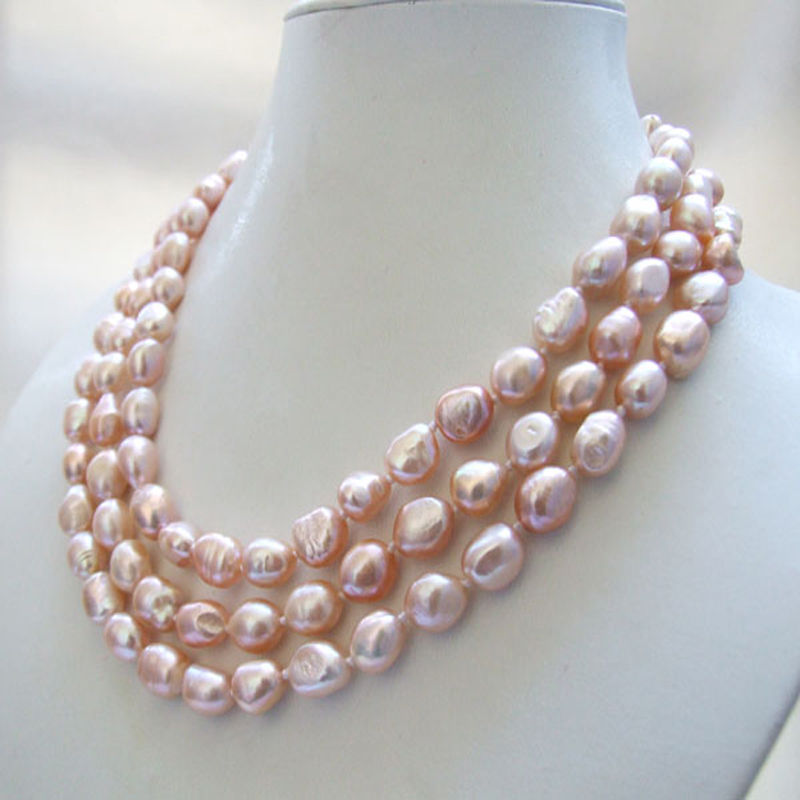 3 strands genuine natural pink baroque freshwater pearl necklace 8-9mm necklace
