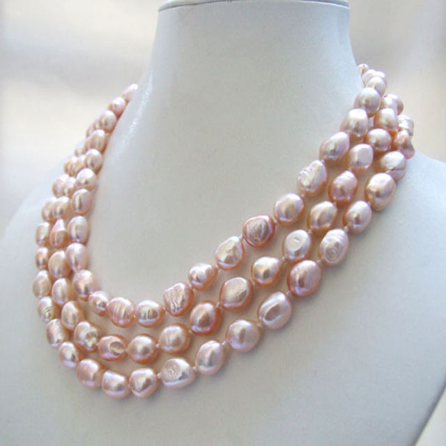ad02abd68 3 strands genuine natural pink baroque freshwater pearl necklace 8-9mm