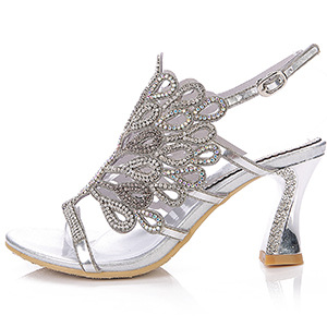Sliver Sheepskin High-Heeled Shoes Summer Diamond Leather Sandals Women Pumps Rhinestone Buckle Design Plus Size 44 Peacock