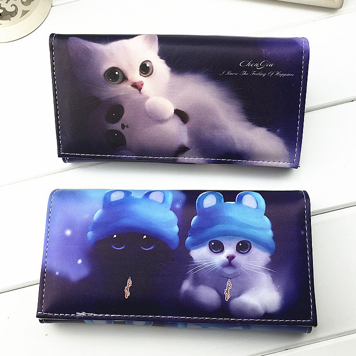 Blue Cat Print 3 D Effect Cute Cat Wallets Women Purses Ladies Clutch Change Coin Purse Female Card Money Bag PU Leather Wallet women wallets hello kitty bag purse leather long women s purse coin money bag ladies clutch bag card holder sac bolsas feminina