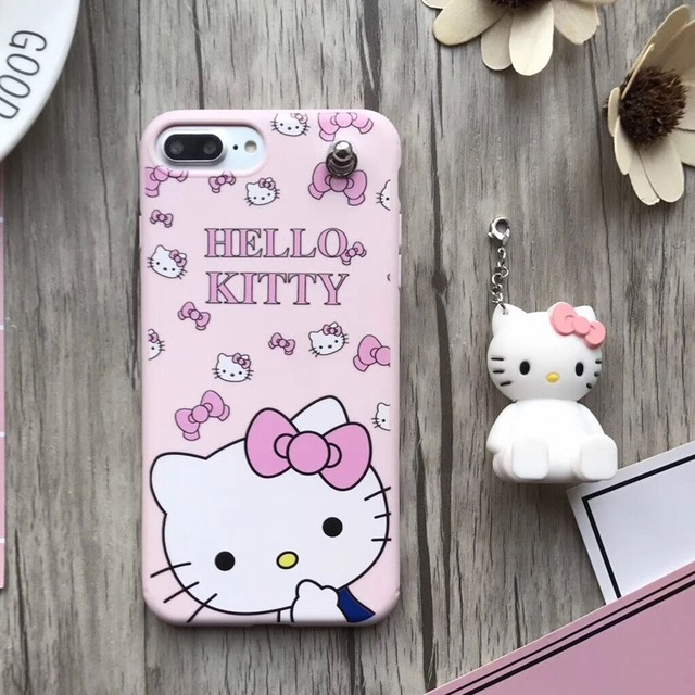 online retailer 13304 95f12 US $8.09 10% OFF|For iPhone 7 7plus Kitty case Cute Hello kitty TPU back  cover case For iPhone 6 7 6S Plus pink KT cat phone cover stand pendant-in  ...