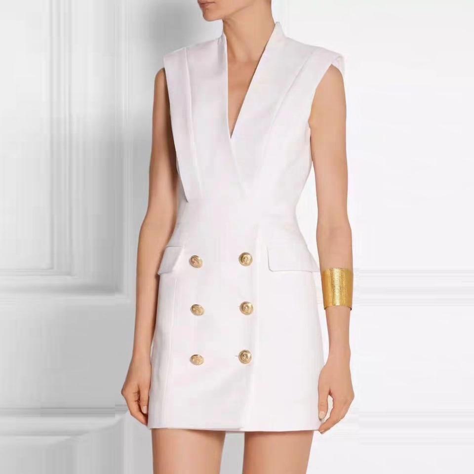 الفاخرة جديد زهرة بيضاء أحمر أسود مزدوجة الصدر المعادن الأسد مشبك الخامس الرقبة أكمام المرأة اللباس Vestidos الملابس انخفاض الشحن-في فساتين من ملابس نسائية على  مجموعة 1