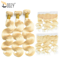 Doozy Color 613 Russian Blonde Body Wave Human Hair 3 Bundles With 13x4 Lace Frontal Closure Remy Brazilian Hair