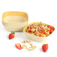 Lekoch 4 pieces Bamboo Grain Pattern Bamboo Fiber Materials Square Fruit Snack Candy Salad Plate Bowl Dish Basket Food Container