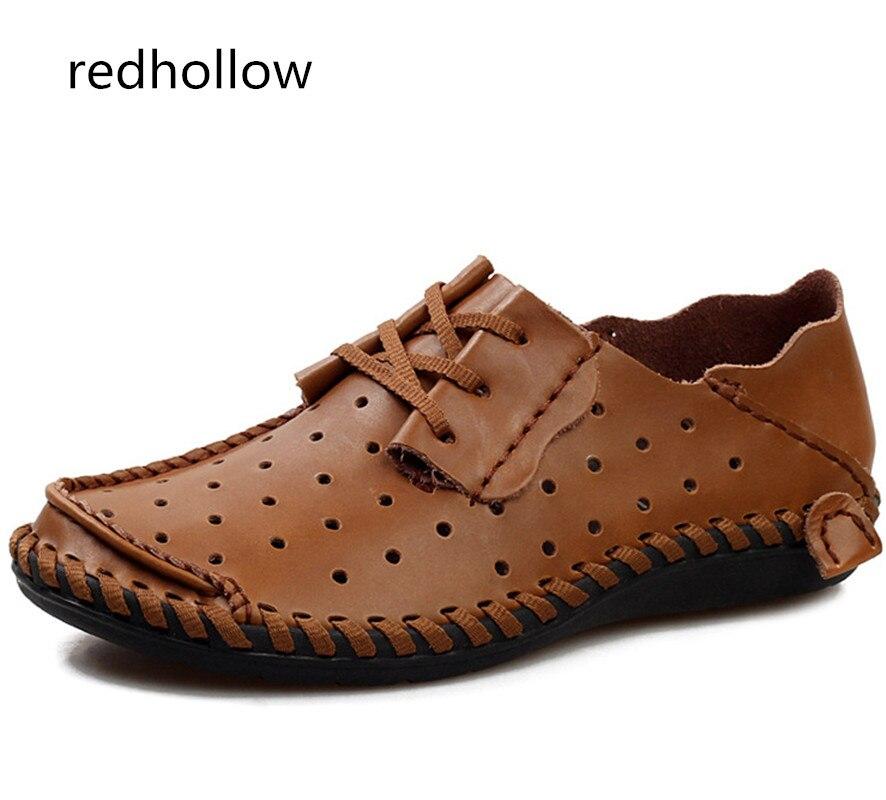 2019 Hommes chaussures décontractées Réel En Cuir D'été Respirant Trous Plat Chaussures pour Hommes Sandales Conduite Douce Chaussures à lacets Mocassins Taille 50