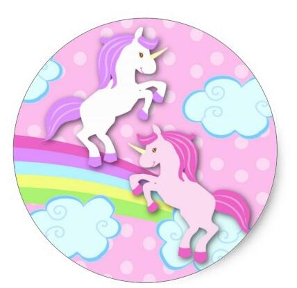 1 5inch Unicorn Birthday Party Favor Round Stickers In