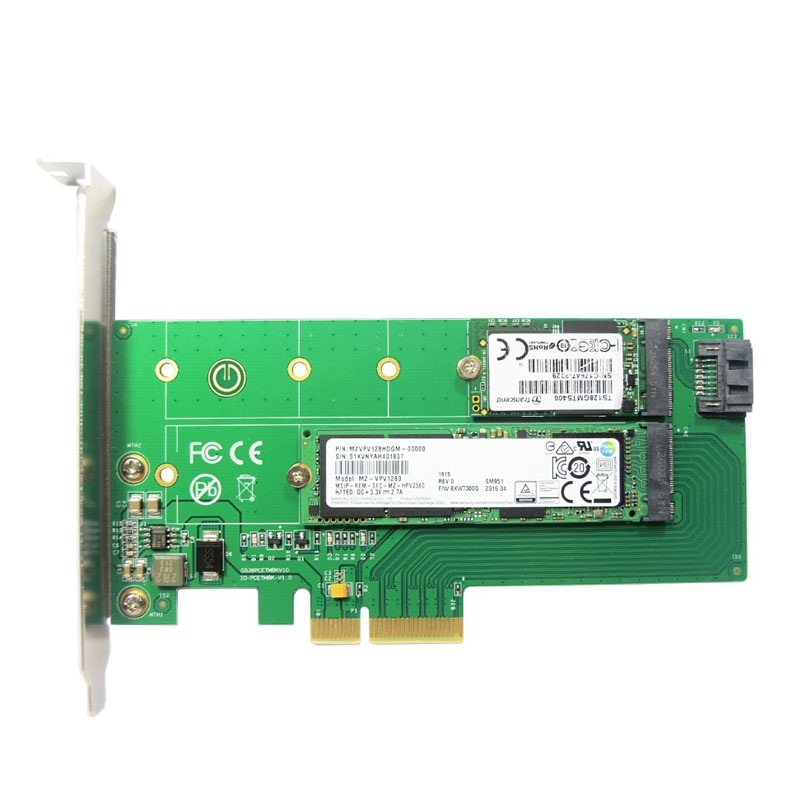 Dual Voltage Power Supply 12V And 3 V PCIe X 4 To NGFF(PCIe) NVME SSD+SATA To NGFF(SATA)adapter Card