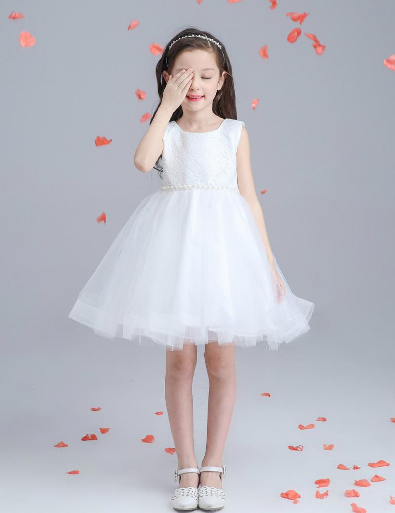Dresses for Girls Children Princess Wedding Dress Girl In White Cotton Sleeveless Tutu Korean