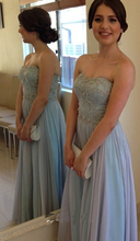 Wedding Party Dress Long Bridesmaid Gown Light Blue Sweetheart Beaded Pearls Pleats Lace Chiffon  Maid Of Honor Vestido Madrinha