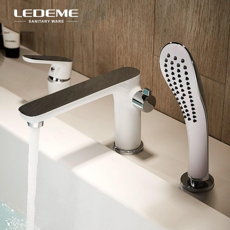 LEDEME White Bathtub Faucet Shower Set Copper Body Showers with Handhead ABS Shower Head Dec Mounted Shower Faucet System L1153W-in Bathtub Faucets from Home Improvement    1