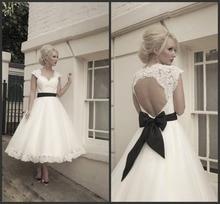 custom sexy backless casamento short wedding dress bride gown cheap bow belt vestido de noiva 2015 fashionable free shipping