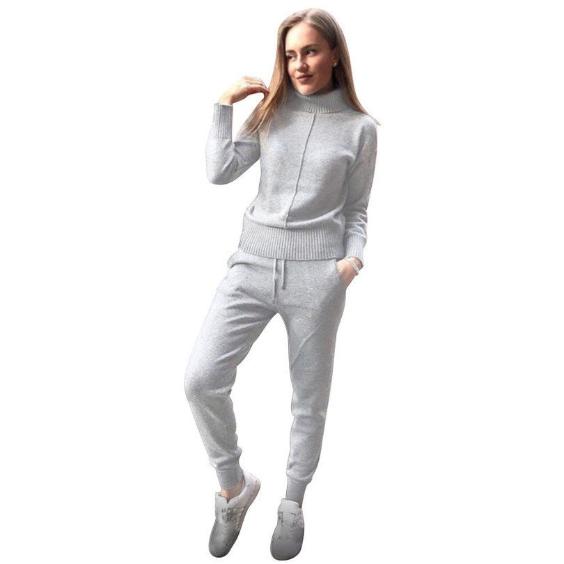 TAOVK winter Woolen and Cashmere Knitted warm Suit high Collar Sweater + Mink Cashmere Pants loose style two-piece set knit