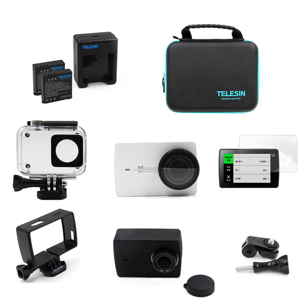 TELESIN 8 IN 1 Accessory Kit Waterproof Housing+Battery+Charger+Lens Protector for Xiaomi Yi 4K, 4K+ Action Camera Accessories