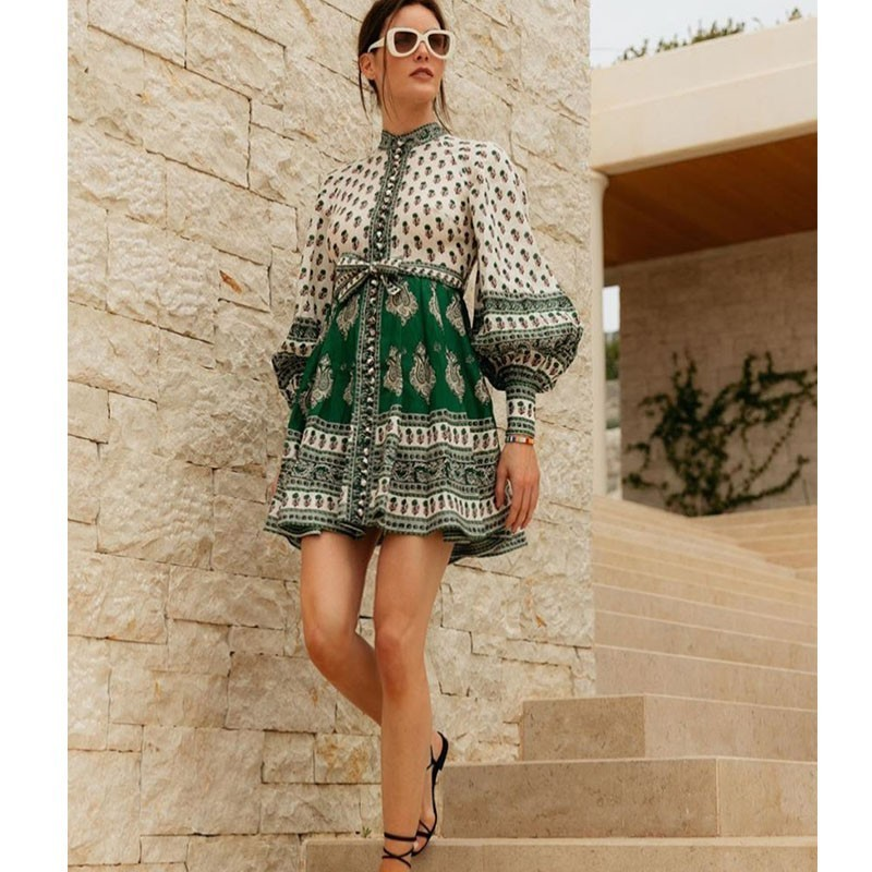 CCCC Women Summer Boho Print Linen Dress Stand Collar Single Breasted Long Sleeve Dress Casual Party