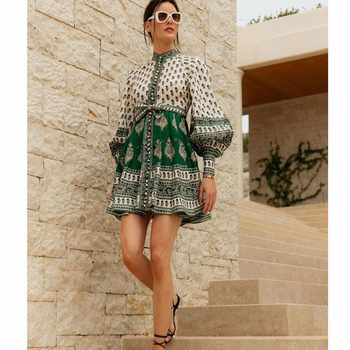 CCCC Women Summer Boho Print Linen Dress Stand Collar Single Breasted Long Sleeve Dress Casual Party Dresses ZIM 2019 - DISCOUNT ITEM  20% OFF All Category