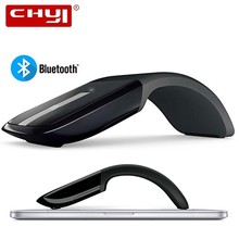CHYI Bluetooth Foldable Wireless Mouse Folding Arc Touch 1200DPI Optical Computer Mause for Microsoft PC Laptop