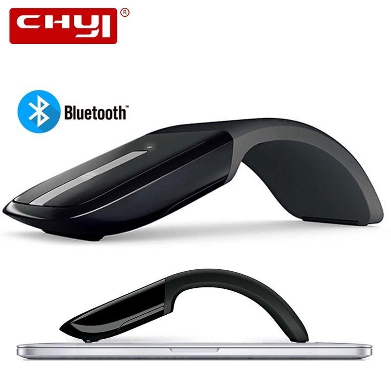 CHYI Bluetooth Foldable Wireless Mouse Folding Arc Touch Mouse 1200DPI Optical Computer Bluetooth Mause for Microsoft PC Laptop