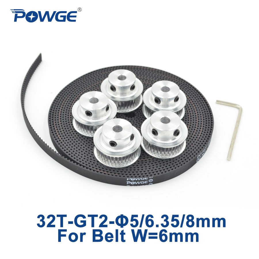 POWGE 5pcs 32 teeth GT2 Timing Pulley Bore 5mm 6.35mm 8mm + 5Meters width 6mm GT2 Timing Belt 32Teeth 32T 2GT belt pulley powge 8pcs 20 teeth gt2 timing pulley bore 5mm 6mm 6 35mm 8mm 5meters width 6mm gt2 synchronous 2gt belt 2gt 20teeth 20t