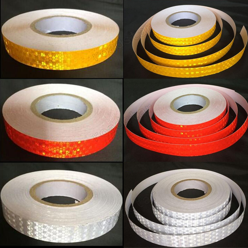 25mm X 50m  Colorful Smooth Surface Water Resistance Reflective Safety Warning Conspicuity Tape Film Sticker For Road