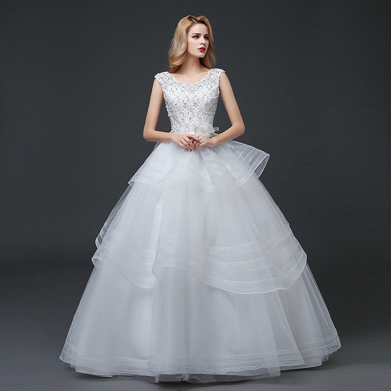 Vivian Wedding Gown: Vivian's Bridal 2018 Tiered Tulle Bow Knot Bridal Gown