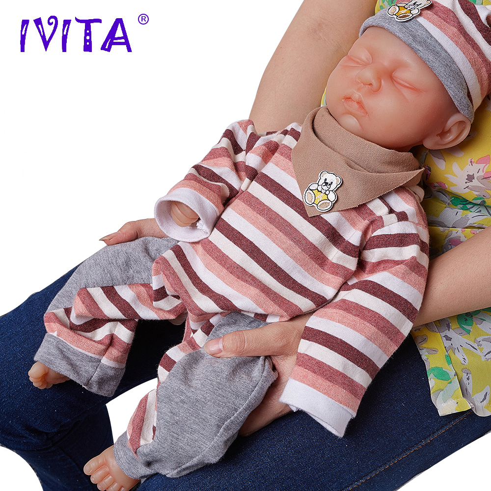 IVITA 18inch 3 2kg Girl Eyes Closed High Quality Silicone Reborn Dolls Baby Born Full Body