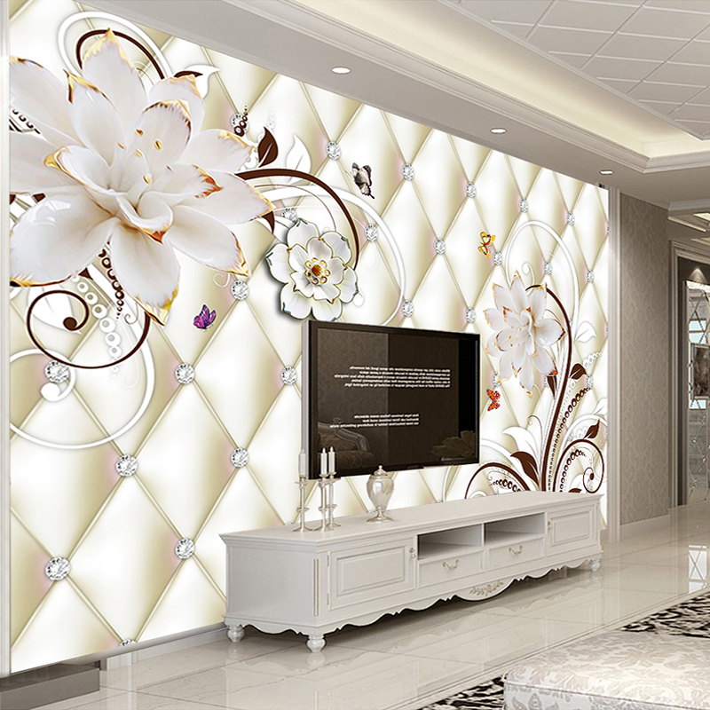 Custom Wall Mural Non-woven Wallpaper Roll 3D White Flower Jewelry Murals Living Room TV Background Wall Covering Home Decor milan classical wall papers home decor non woven wallpaper roll embossed simple light color living room wallpapers wall mural