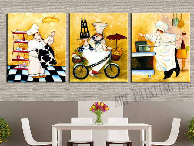 3 Pieces Modern Abstract Canvas Painting Funny Chef Wall Art For Kitchen Room Dinner