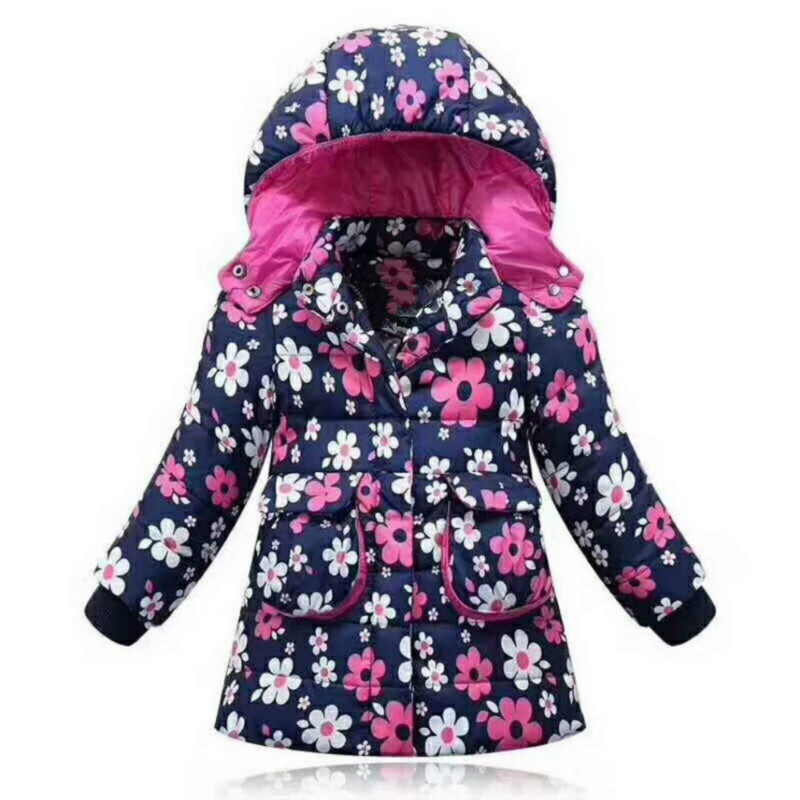 New Brand Children Outerwear Fashion Flower Warm Cotton Down Girl Winter Coat Kids Clothes Baby Girls Jackets for 3-6T keaiyouhuo 2017 new winter coat children clothes long sleeve printing jackets for girls cotton kids down jacket hooded outerwear