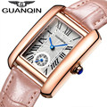 GUANQIN 2016 New Watch Women Fashion Leather Bracelet Quartz Watches Rectangle Model Clock With Blue Pointer For Ladies