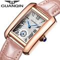 Guanqin 2016 nueva moda mujer reloj de pulsera de cuero relojes de cuarzo rectángulo reloj modelo con azul puntero para damas
