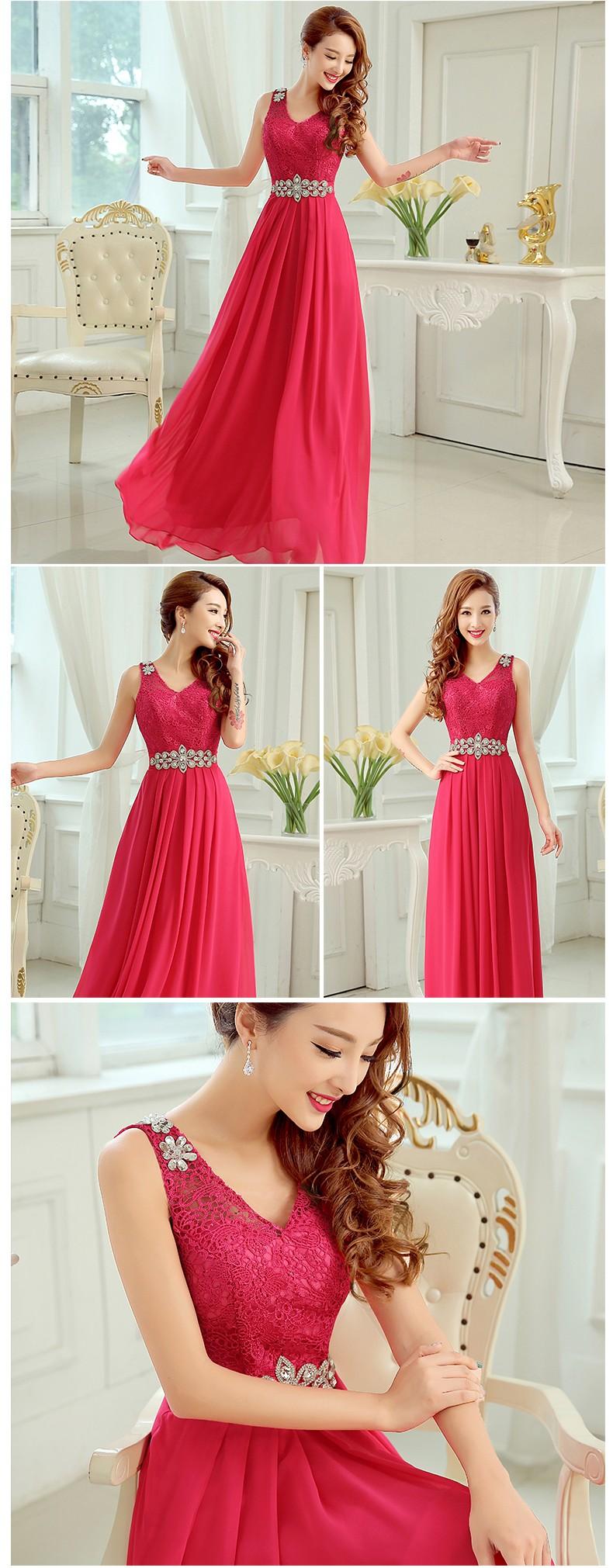 Shoulder Straps V-neck A-line Lace Chiffon Bridesmaid Dress