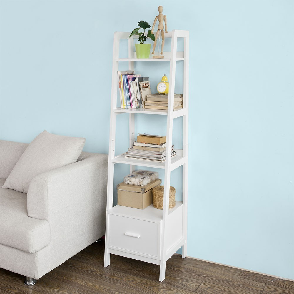info for c737e 573a2 SoBuy FRG116-K-W, White Storage Display Shelving Ladder Shelf Bookcase with  Drawer and 4 Shelves