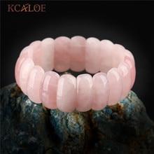 KCALOE Boho Women Natural Pink Quartz Chakra Bracelets Geometry Long Beaded Crystal Stone Wrap Bracelet Elastic Bangle