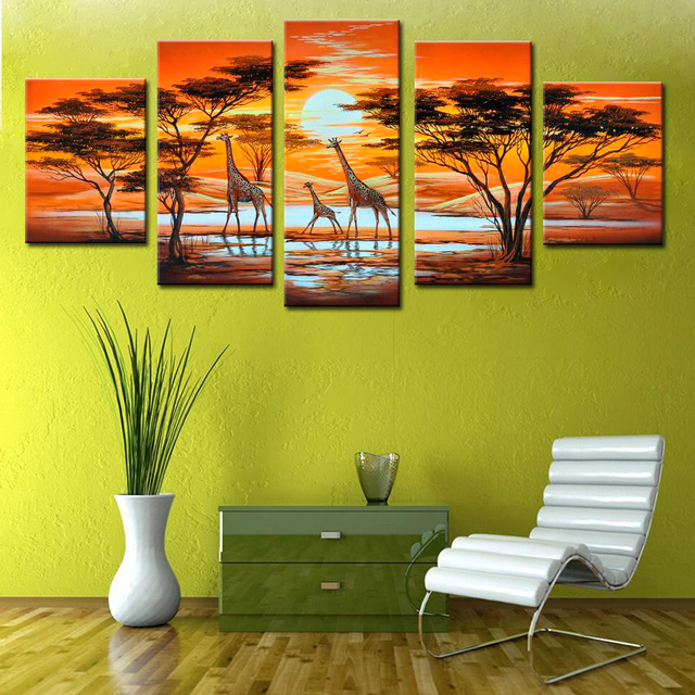 5 Pieces Canvas Picture Modern African Landscape Oil Paintings Hand ...