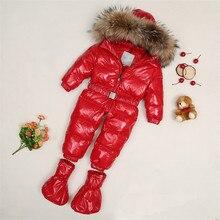 Nouvelle arrivée! 2016 fourrure d'hiver de bébé barboteuse nouveau-né bébé garçons filles duvet de canard habineige bebe combinaison à capuche clj135