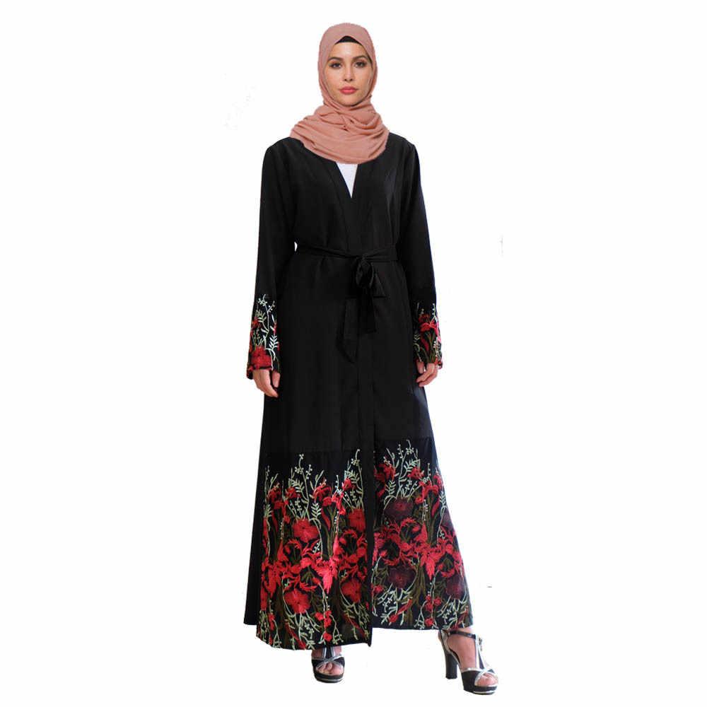 Abiti Eleganti Kimono.Elegante Ricamo Musulmano Abaya Flroal Maxi Vestito Cardigan Lunga