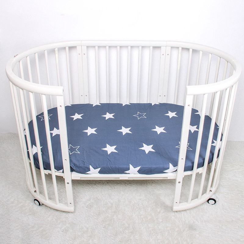2019 New 100% Cotton Fitted Crib Sheets Baby Crib Sheets Portable Bed Sheets Soft Baby Bed Mattress Cover Baby Bedding