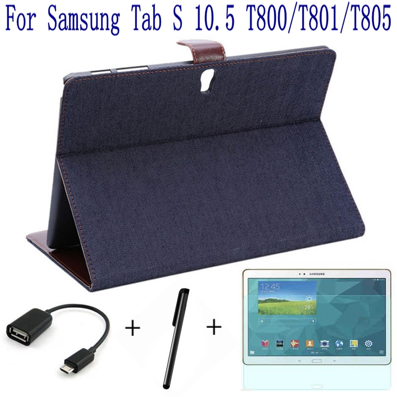 Подробнее о 4 in 1 Jeans Pattern Stand Leather Case Cover for Samsung Galaxy Tab S 10.5 T800 T801 T805 Tablet Case+Screen Protector+OTG+Pen 3 in1 top quality stand pu leather cover case for samsung galaxy tab s 10 5 t800 t801 t805 tablet free screen protector pen