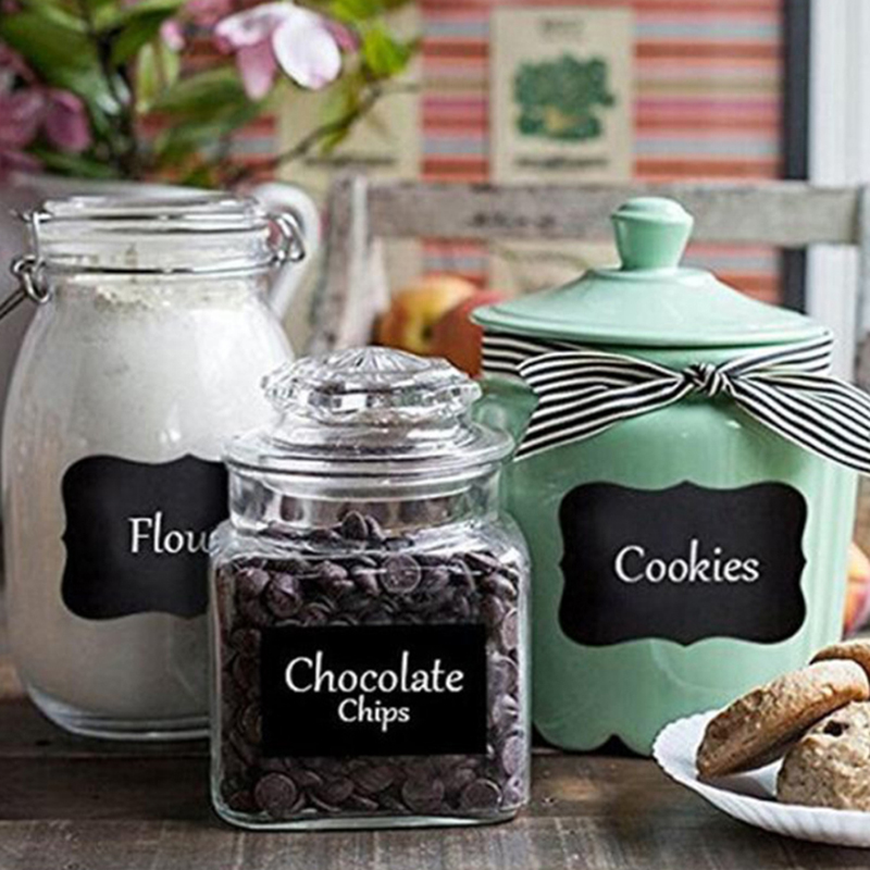 8pcs Waterproof Glass Bottle Stickers Labels Home Kitchen Jars Stickers Chalkboard Lables Tags Can Be Reused