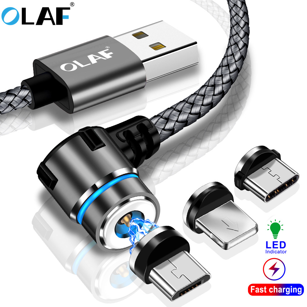US $1 09 45% OFF|OLAF Magnetic 90 Degree Micro USB Type C Cable for Iphone  7 8 Plus X XS Max For Xiaomi Redmi note 7 Mi 8 For Samsung S8 S9 Plus-in