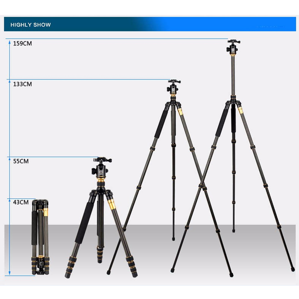 Image 3 - Original Hot Beike QZSD Q999C Professional Photographic Portable Carbon Fiber Tripod Kit Monopod Stand Ball head For DSLR Camera-in Live Tripods from Consumer Electronics
