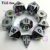 10pcs/set Silver Color Metal Dice d4 3xd6 d8 d10 d12 2xd20 with Iron Box for Dungeons and Dragons Game