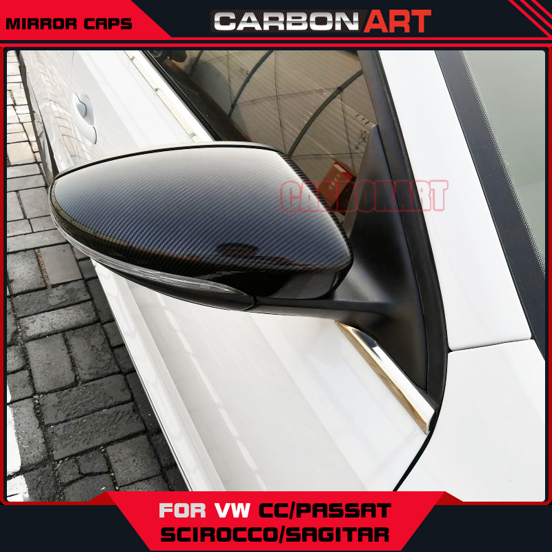 Carbon Fiber Mirror Cover Caps For Volkswagon VW Passat CC Scirocco Sagitar Beetle Styling Replacement Design Car Decorations