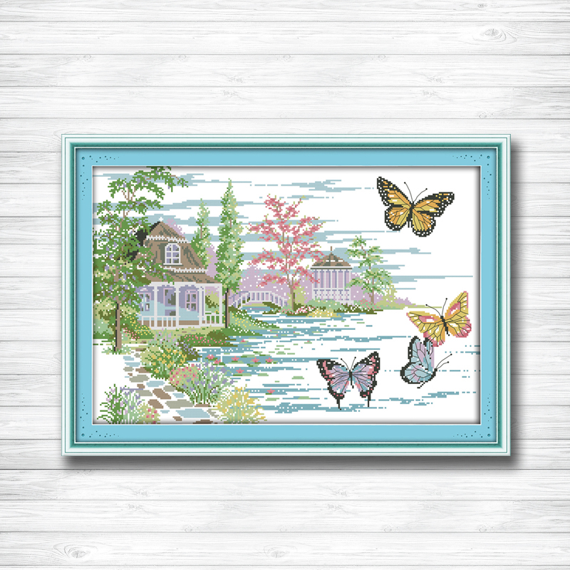 Cross-stitch Punctual The Butterfly Estate Lakeside Scenery Painting Dmc 14ct 11ct Counted Cross Stitch Kits Embroidery Set Needlework Set Home Decor Package