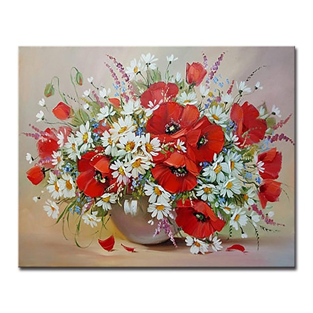 Diy Oil Painting By Numbers Kits Drawing Vivid Flowers Pictures On
