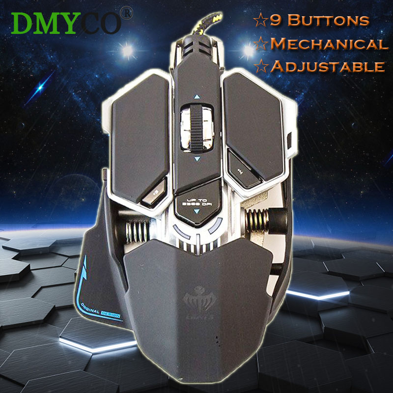 DMY 4800DPI Professional Wired Mechanical Gaming Mouse Adjustable Optical 9 Buttons Cable Mice for Pro Gamers