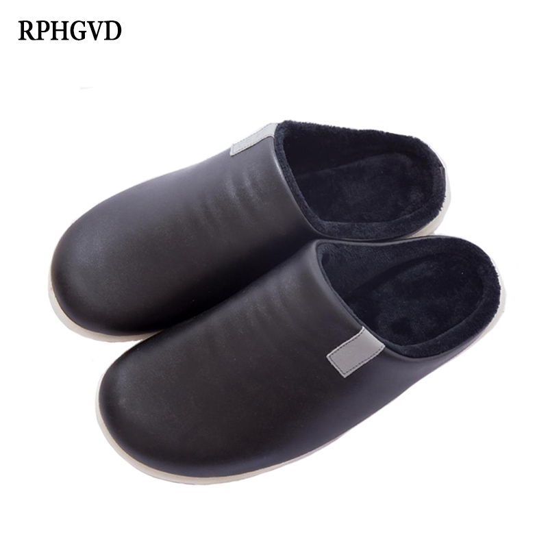 Men's Slippers New Large Size Men's Warm Slippers Winter Couples Indoor Home Slip Warm PU Leather Cotton Slippers Size 41-46