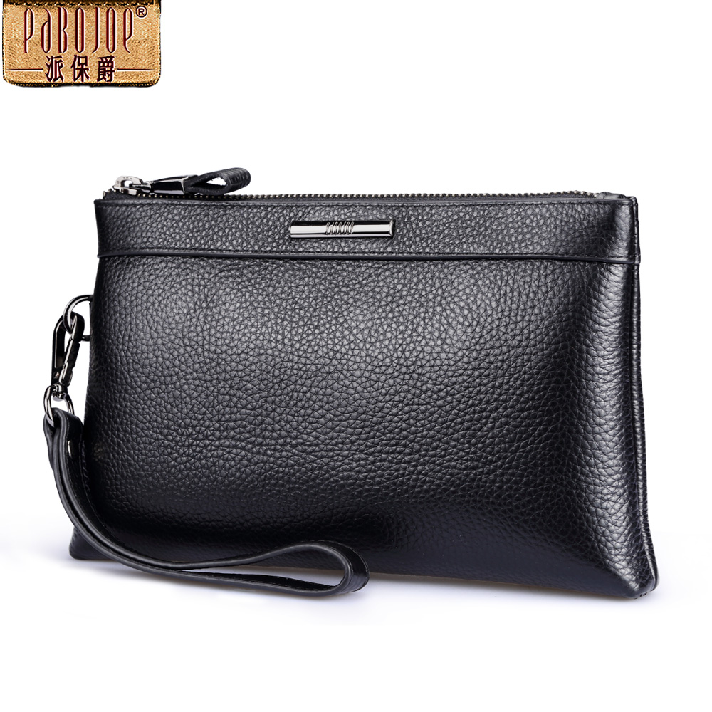 Pabojoe Mens Clutch Bag Genuine Leather Bag Men Envelope Clutch Purse Solid Zipper Black Long Wallet