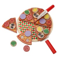 27pcs Wood Pizza Kitchen Toys Set Wooden Cutting Food Vegetables Fruit Play House Toys For Children